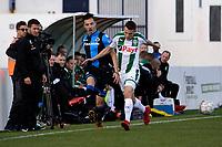 MARBELLA  - Voetbal, Club Brugge - FC Groningen, Trainingskamp , seizoen 2017-2018, 10-01-2018,  FC Groningen speler Oussama Idrissi met Dion Cools