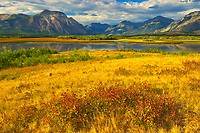 Prairie meets the Canadian Rocky Mountains , Waterton Lakes  National Park, Alberta, Canada