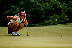 STILLWATER, OK - MAY 23: Kristen Gillman eyes a putt during the Division I Women's Golf Team Match Play Championship held at the Karsten Creek Golf Club on May 23, 2018 in Stillwater, Oklahoma. (Photo by Shane Bevel/NCAA Photos via Getty Images)