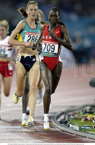 709. SUSAN CHEPKEMEI (KEN), Women's 10,000 Metres Final, 2002 Manchester Commonwealth Games, City of Manchester Stadium, 020730. Photo: Neil Tingle/Action Plus...athletics athletes athlete.runner runners run running.track event distance.woman......................................