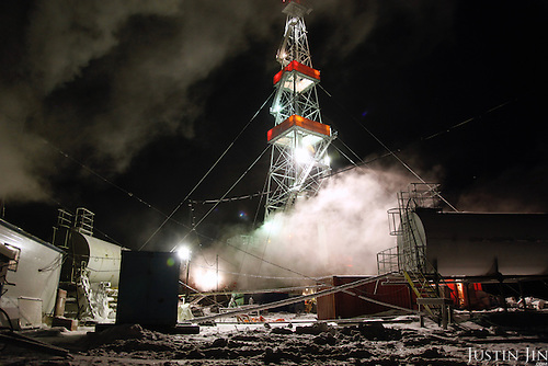 A gas drilling facility at the  Kumzhinskoe gas field, located in the delta of Pechora River, 60 km from Narjan-Mar city in Russia&rsquo;s Nenets Autonomous Region. In 1979, an explosion in one of the wells caused an uncontrolled gas fountain, with the condensate polluting huge areas of the tundra around, including the Pechora River. In May 25, 1981, the Soviets tried to collapse the field with an underground nuclear explosion at 1470 m depth. The explosion went wrong, causing even more damage and pollution. After that the field was closed and the area marked a nature reserve. <br /> <br /> Recently, more gas was found in the area. In 2007, then-President Vladimir Putin signed a decree demarcating the area from the nature reserve so that drilling work can resume. Environmentalists condemn this, saying the project too prone to further accidents in a delicate environment.