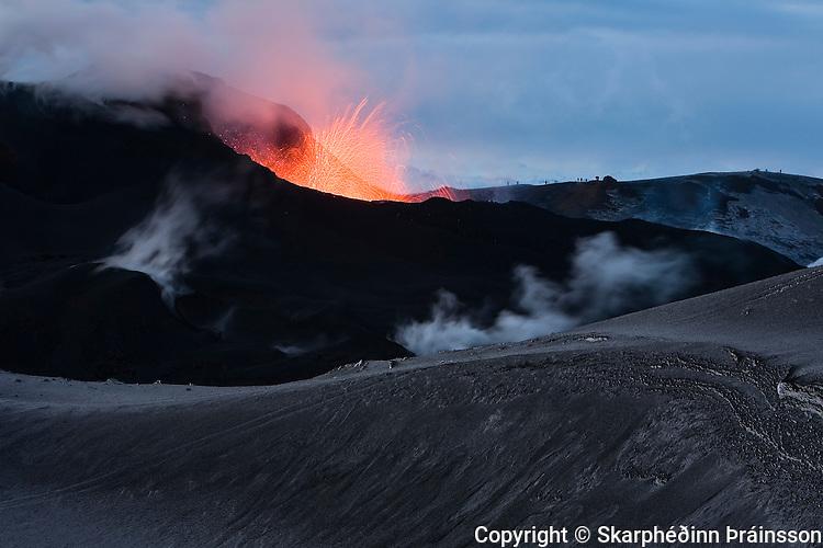 Erupting volcano on Fimmvörðuháls, southern Iceland