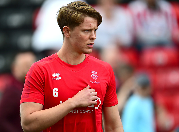 Lincoln City's Mark O'Hara during the pre-match warm-up<br /> <br /> Photographer Andrew Vaughan/CameraSport<br /> <br /> The EFL Sky Bet League Two - Lincoln City v Macclesfield Town - Saturday 30th March 2019 - Sincil Bank - Lincoln<br /> <br /> World Copyright © 2019 CameraSport. All rights reserved. 43 Linden Ave. Countesthorpe. Leicester. England. LE8 5PG - Tel: +44 (0) 116 277 4147 - admin@camerasport.com - www.camerasport.com