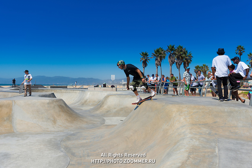 Skateboarders in Venice skate park, LA, California