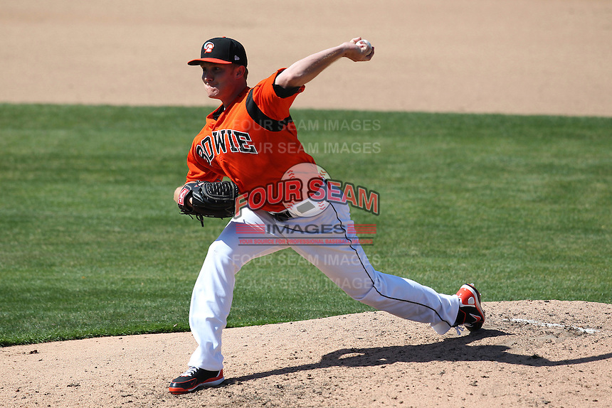 Bowie BaySox starting pitcher Cole McCurry #37 delivers a pitch during a game against the Harrisburg Senators at Prince George's Stadium on April 8, 2012 in Bowie, Maryland.  Harrisburg defeated Bowie 5-2.  (Mike Janes/Four Seam Images)