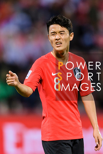 Ju Sejong of South Korea gestures during the AFC Asian Cup UAE 2019 Round of 16 match between South Korea (KOR) and Bahrain (BHR) at Rashid Stadium on 22 January 2019 in Dubai, United Arab Emirates. Photo by Marcio Rodrigo Machado / Power Sport Images