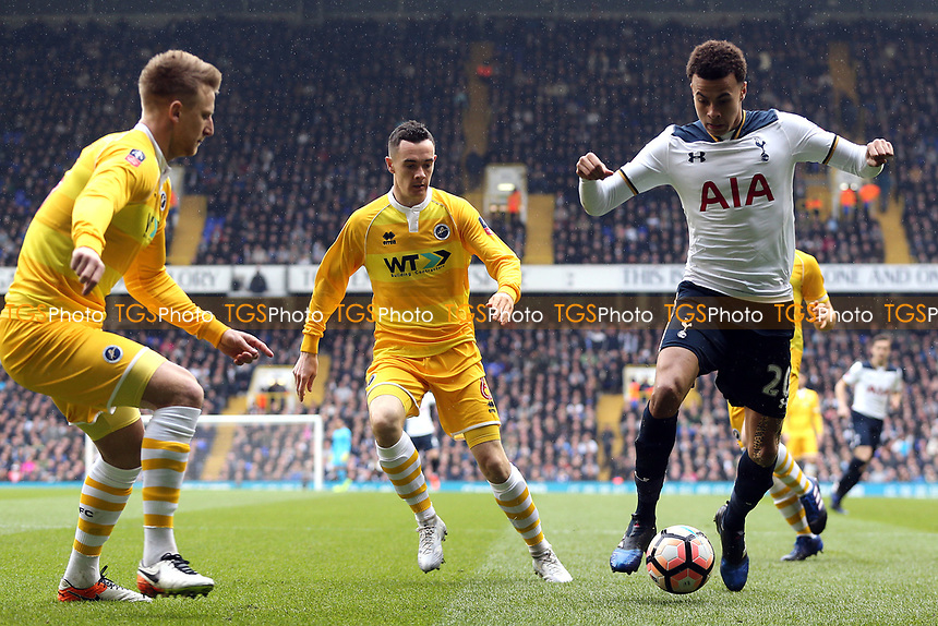 Shaun Williams of Millwall and Dele Alli of Tottenham Hotspur during Tottenham Hotspur vs Millwall, Emirates FA Cup Football at White Hart Lane on 12th March 2017