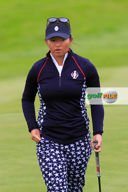 Megan Khang (USA) on the 1st during Day 3 Singles at the Solheim Cup 2019, Gleneagles Golf CLub, Auchterarder, Perthshire, Scotland. 15/09/2019.<br /> Picture Thos Caffrey / Golffile.ie<br /> <br /> All photo usage must carry mandatory copyright credit (© Golffile | Thos Caffrey)