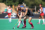 02 October 2016: Duke's Chessie Ruffell (ENG) (right) and Boston's Kara Enoch (left). The Duke University Blue Devils hosted the Boston University Terriers at Jack Katz Stadium in Durham, North Carolina in a 2016 NCAA Division I Field Hockey match. Duke won the game 2-1.