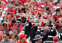 Members of the Ohio State Marching Band perform in the west stands during the second quarter of the NCAA football game at Ohio Stadium in Columbus on Sept. 7, 2013. (Adam Cairns / The Columbus Dispatch)