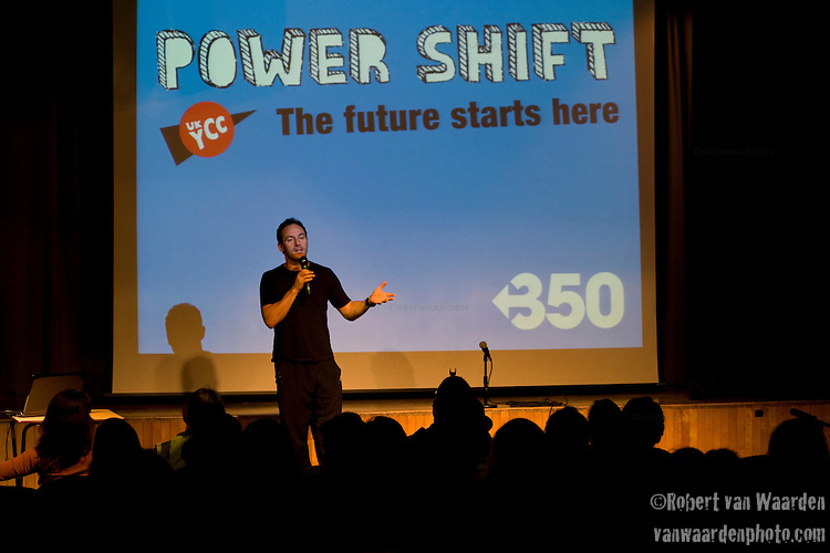 Jason Issacs, the actor who plays Lucius Malfoy in Harry Potter, speaks about the power of stories to the crowd during the second day of Powershift UK. The UKYCC PowerShift Conference, held on Oct. 9-12, brought together over 250 young people from across the United Kingdom and the world to discuss climate change. The conference taught them how to  organize, build a social movement and take creative and intelligent action to tackle the climate crisis. Institute of Education, London, United Kingdom (2009 ©Robert vanWaarden)