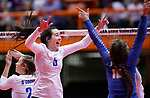 November 22, 2019; Rapid City, SD, USA; Brynn Askew #5 of Sioux Falls O'Gorman celebrates a point against Huron at the 2019 South Dakota State Volleyball Championships at the Rushmore Plaza Civic Center in Rapid City, S.D. (Richard Carlson/Inertia)