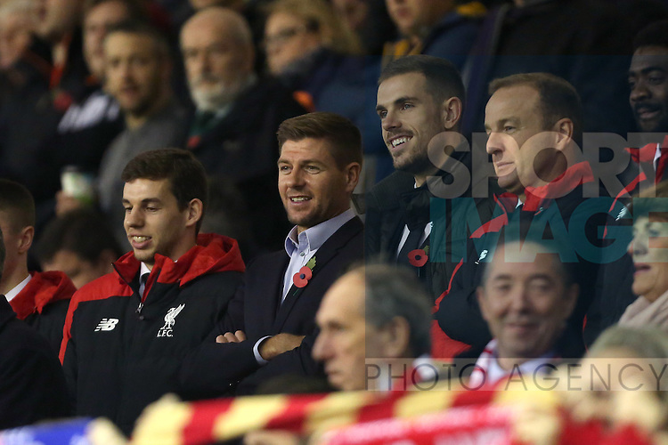 Steven Gerrard in the stands - Liverpool vs Crystal Palace - Barclays Premier League - Anfield - Liverpool - 08/11/2015 Pic Philip Oldham/SportImage