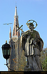 St. Johannes Nepomucenus, Pieter Pepers 1767, Onze-Lieve-Vrouwkerk Church of Our Lady Tower, Nepomucenus Bridge, Wollestraat at Rozenhoedkaai Rose Hat Quay, Bruges, Brugge, Belgium