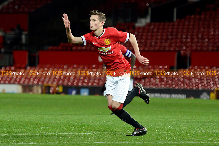Callum Gribbin of Manchester United celebrates after scoring a free kick - Manchester United Youth vs Hull City Youth - FA Youth Cup 4th Round Football at Old Trafford, Greater Manchester - 13/01/15 - MANDATORY CREDIT: Greig Bertram/TGSPHOTO - Self billing applies where appropriate - contact@tgsphoto.co.uk - NO UNPAID USE