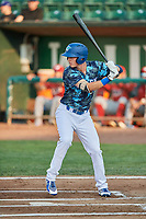 Dillon Paulson (14) of the Ogden Raptors bats against the Orem Owlz at Lindquist Field on August 3, 2018 in Ogden, Utah. The Raptors defeated the Owlz 9-4. (Stephen Smith/Four Seam Images)