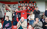 Sheffield FC 1 Hallam 1, 14/10/2006. Coach and Horses Stadium, The worlds oldest derby. Hallam scored a last minute equaliser. Fans celebrating Sheffield FC's goal. Photo by Paul Thompson.