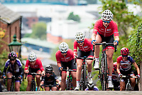 Picture by Alex Whitehead/SWpix.com - 13/05/2018 - British Cycling - HSBC UK National Women's Road Series - Lincoln Grand Prix - Jess Roberts leads her Breeze team-mates up Michaelgate.