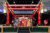 Actors in period costumes perform at the Edo festival at Haneda International Airport terminal, Tokyo, Japan. Friday August 26th 2016. The 3 day festival runs from August 26th to August 28th at Tokyo's second International airport. Actors dressed as samurai, geisha and ninja will greet passengers and visitors to the terminal and put on shows and parades of traditional music and dance. Haneda International airport has an Edo theme. Edo is the old name for Tokyo in the time of the samurai