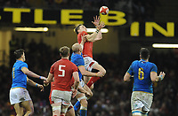 Wales George North catches the high ball <br /> <br /> Photographer Ian Cook/CameraSport<br /> <br /> 2018 NatWest Six Nations Championship - Wales v Italy - Sunday 11th March 2018 - Principality Stadium - Cardiff<br /> <br /> World Copyright &copy; 2018 CameraSport. All rights reserved. 43 Linden Ave. Countesthorpe. Leicester. England. LE8 5PG - Tel: +44 (0) 116 277 4147 - admin@camerasport.com - www.camerasport.com