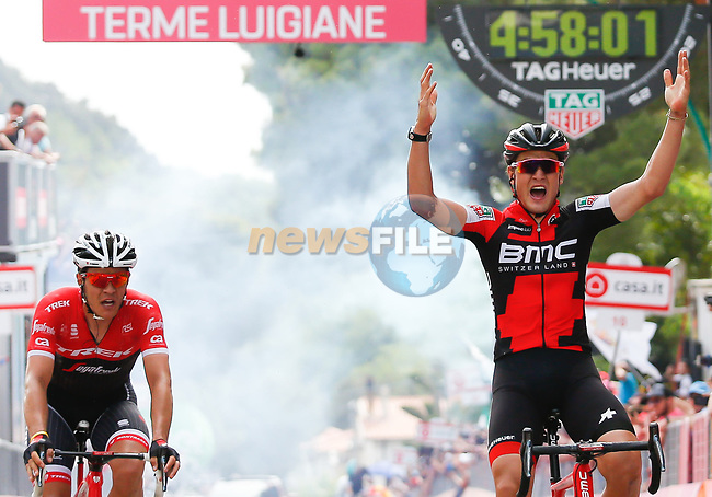 Silvan Dillier (SUI) BMC Racing Team wins Stage 6 of the 100th edition of the Giro d'Italia 2017, running 217km from Reggio Calabria to Terme Luigiane, Italy. 11th May 2017.<br /> Picture: LaPresse/Simone Spada | Cyclefile<br /> <br /> <br /> All photos usage must carry mandatory copyright credit (&copy; Cyclefile | LaPresse/Simone Spada)