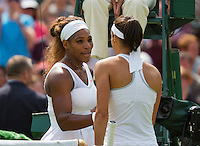 27-06-13, England, London,  AELTC, Wimbledon, Tennis, Wimbledon 2013, Day four, Caroline Garcia (FRA) shakes hand with Serena Williams (USA) who beat her in the second round<br /> <br /> <br /> <br /> Photo: Henk Koster