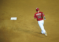 Jun. 1, 2011; Phoenix, AZ, USA; Arizona Diamondbacks third baseman Ryan Roberts rounds the bases after hitting a home run against the Florida Marlins at Chase Field. Mandatory Credit: Mark J. Rebilas-
