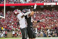 Stanford, CA -- October 10, 2014: Stanford plays Washington State at Stanford Stadium. Stanford defeated Washington State 34-17. Devon Cajuste attempting a touchdown reception.
