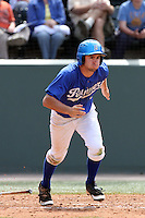 Kevin Younger #12 of the Cal. St. Bakersfield Roadrunners bats against the UCLA Bruins at Jackie Robinson Stadium in Los Angeles,California on May 14, 2011. Photo by Larry Goren/Four Seam Images