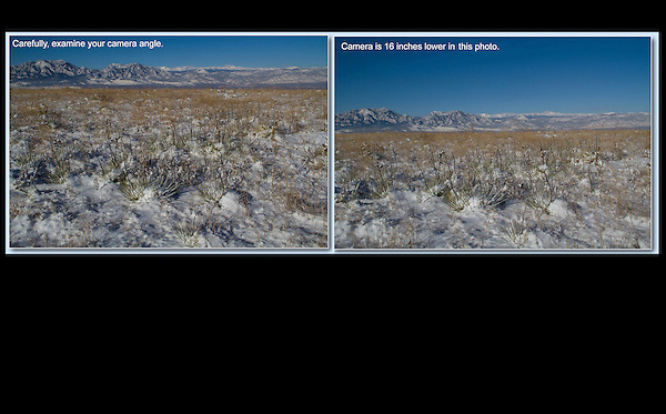Small differences in camera angle, yield big differences in composition. John leads private, photo tours throughout Colorado, including Denver and Boulder.
