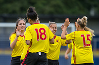 Celebrations as Natalie Murray of Watford Ladies scores her first goal to make it 1 0 during the pre season friendly match between Stevenage Ladies FC and Watford Ladies at The County Ground, Letchworth Garden City, England on 16 July 2017. Photo by Andy Rowland / PRiME Media Images.
