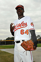 Feb 27, 2010; Tampa, FL, USA; Baltimore Orioles  pitcher Luis Lebron (64) during  photoday at Ed Smith Stadium. Mandatory Credit: Tomasso De Rosa/ Four Seam Images