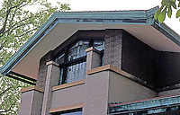 F.L. Wright: Dana House, Springfield, ILL. East wing.  Photo '78.