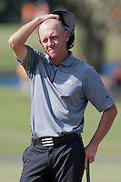 November 14, 2010: Nathan Green of Australia reacts to the result of his putt on the 17th green of the Magnolia course during third round golf action from The Children's Miracle Network Hospitals Classic held at The Disney Golf Resort in Lake Buena Vista, FL.
