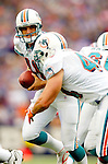9 October 2005: Gus Frerotte, quarterback for the Miami Dolphins, scrambles in the pocket before making a handoff against the Buffalo Bills at Ralph Wilson Stadium, in Orchard Park, NY. The Bills defeated the division rival Dolphins 20-14. ..Mandatory Photo Credit: Ed Wolfstein