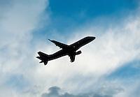 Jet ascending after take off.