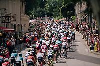 rolling through the town of Pamiers<br /> <br /> Stage 16: Carcassonne &gt; Bagn&egrave;res-de-Luchon (218km)<br /> <br /> 105th Tour de France 2018<br /> &copy;kramon