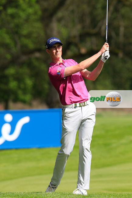 Gary Hurley (IRL) plays his 3rd shot on the 16th hole during Thursday's Round 1 of the 2016 Dubai Duty Free Irish Open hosted by Rory Foundation held at the K Club, Straffan, Co.Kildare, Ireland. 19th May 2016.<br /> Picture: Eoin Clarke | Golffile<br /> <br /> <br /> All photos usage must carry mandatory copyright credit (&copy; Golffile | Eoin Clarke)