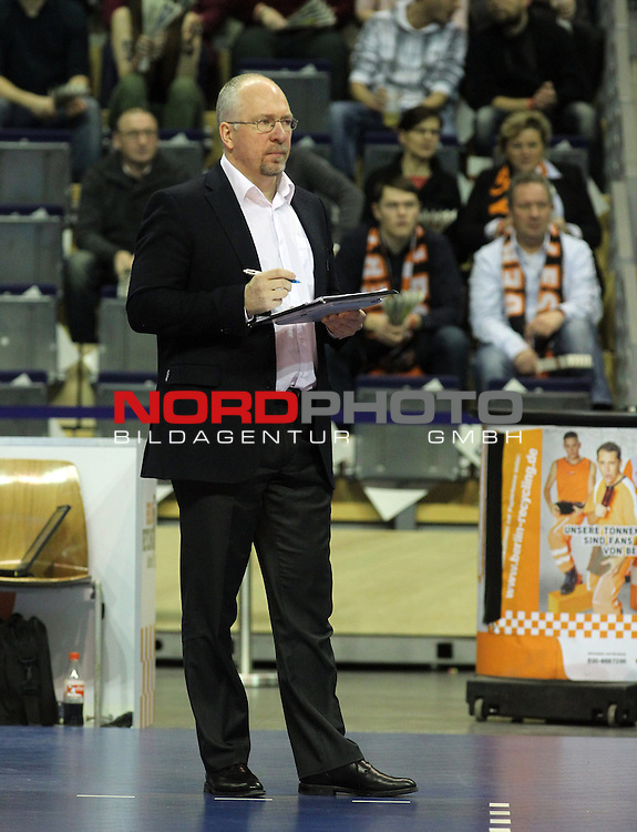 30.01.2014, Max Schmeling Halle, Berlin, GER, 1.VBL, BR Volleys vs. VSG Coburg / Grub, im Bild Trainer Mark Lebedew (BR Volleys)<br /> <br />               <br /> Foto &copy; nordphoto /  Schulz