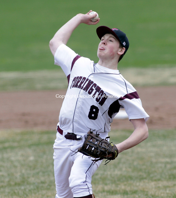 Torrington, CT- 09 April 2016-040916CM01- Torrington's Jake Reynolds delivers a pitch during their home opener against Woodland at Fuessenich Park on Saturday.     Christopher Massa Republican-American