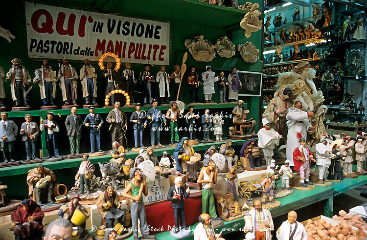 Variety of carnival figurines and statues for sale, Naples, Italy.