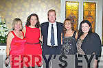 CHRISTMAS PARTY: Enjoying a great time at the Mercy Mounthawk school Christmas party at the Ballyseede Castle hotel on Saturday l-r: Maria Raymond, Una cronin, Ray Hickey, Helen Cunningham and Emma Wall.