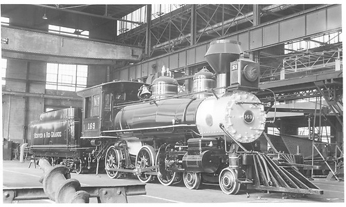 Engine #169 in Denver shops getting ready to go to New York World's Fair.<br /> D&amp;RGW  Denver, CO  Taken by Kindig, Richard H. - 2/22/1939