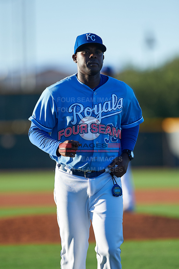AZL Royals pitching coach Julio Pimentel (39) jogs off the field between innings of an Arizona League game against the AZL Brewers Blue at Surprise Stadium on June 18, 2019 in Surprise, Arizona. AZL Royals defeated AZL Brewers Blue 12-7. (Zachary Lucy/Four Seam Images)