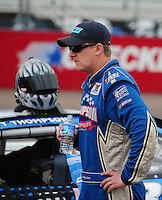 Apr 16, 2009; Avondale, AZ, USA; NASCAR Camping World Series West driver Brett Thompson prior to the Jimmie Johnson Foundation 150 at Phoenix International Raceway. Mandatory Credit: Mark J. Rebilas-