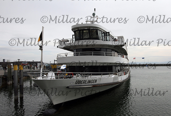 General view of the ship &Uuml;berlingen owned by Bodensee-Schiffsbetriebe GmbH in the harbour at Constance, Bodensee, Baden-W&uuml;rttemberg, Germany.<br /> <br /> Gesamtansicht des Schiffes &Uuml;berlingen Bodensee-Schiffsbetriebe GmbH im Hafen von Konstanz, Bodensee, Baden-W&uuml;rttemberg, Deutschland geh&ouml;rt.
