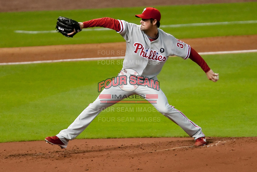 Philadelphia Phillies pitcher Cole Hamels #35 delivers during the Major League Baseball game against the Houston Astros at Minute Maid Park in Houston, Texas on September 13, 2011. Houston defeated Philadelphia 5-2.  (Andrew Woolley/Four Seam Images)