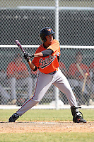 Baltimore Orioles minor league player Hector Veloz #77 during a spring training game vs the Boston Red Sox at the Buck O'Neil Complex in Sarasota, Florida;  March 22, 2011.  Photo By Mike Janes/Four Seam Images