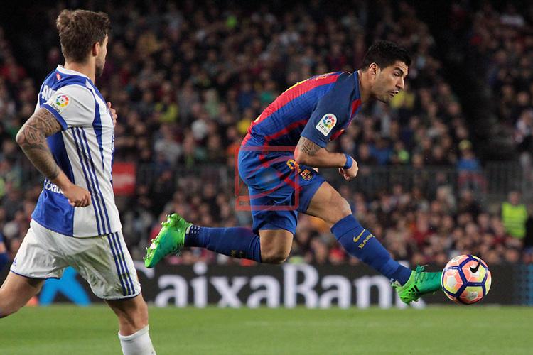 League Santander 2016/2017. Game: 32.<br /> FC Barcelona vs Real Sociedad: 3-2.<br /> Luis Suarez.
