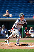 Louisville Cardinals first baseman Brendan McKay (38) hits a home run during a game against the Ball State Cardinals on February 19, 2017 at Spectrum Field in Clearwater, Florida.  Louisville defeated Ball State 10-4.  (Mike Janes/Four Seam Images)